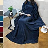 Premium Fleece Blanket with Sleeves by Pavilia | Warm, Cozy, Extra Soft, Functional, Lightweight (Navy)