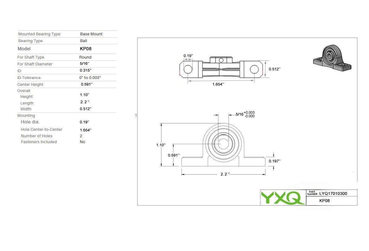 Details about  /KP08 Pillow Block Bearing Flange Block Bearings 8mm Bore Diameter