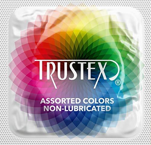 Trustex Non-Lubricated Colored Latex Condoms with Pocket/Purse/Travel Case-24 Count (Silver Case) ()