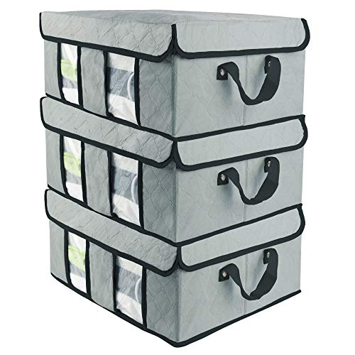 Storage Bags SOFTaCARE 3 PCS - Closet Organizer - Foldable Clothes Organizers and Storage. Storage Organizer with Hoop and Loop Fasteners Cover and Reinforced Handles (Grey, 19