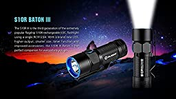 Olight S10R III Baton rechargeable 600 Lumens LED Flashlight EDC/pocket/keychain with RCR123 Li-ion battery , Charging Base and EdisonBright USB cable