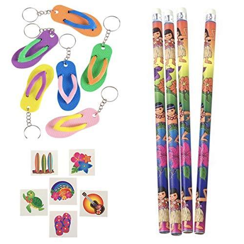 120 LUAU Party Favors - 72 Tattoos 24 Pencils 24 Flip-Flop Key Chains -TROPICAL Birthday Goodies SURF Beach CLASSROOM Hibiscus ()