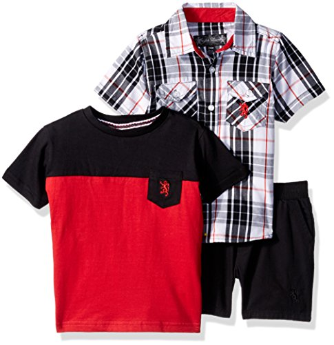 English Laundry Baby Boys Plaid Sport Shirt, Color Block Pocket Tee and Ripstop Short, Multi Plaid, 24M