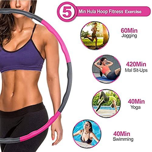 Kedoxi Weighted Hula Hoop & Skipping Rope for Adults, Jumping Rope & Fitness Exercise 8 Section Detachable Hoola Hoops Gift for Women, for Weight Loss, Abdominal Shaping, Home, Office(Pink Gray)