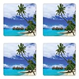 Ambesonne Tropical Coaster Set of Four, Water