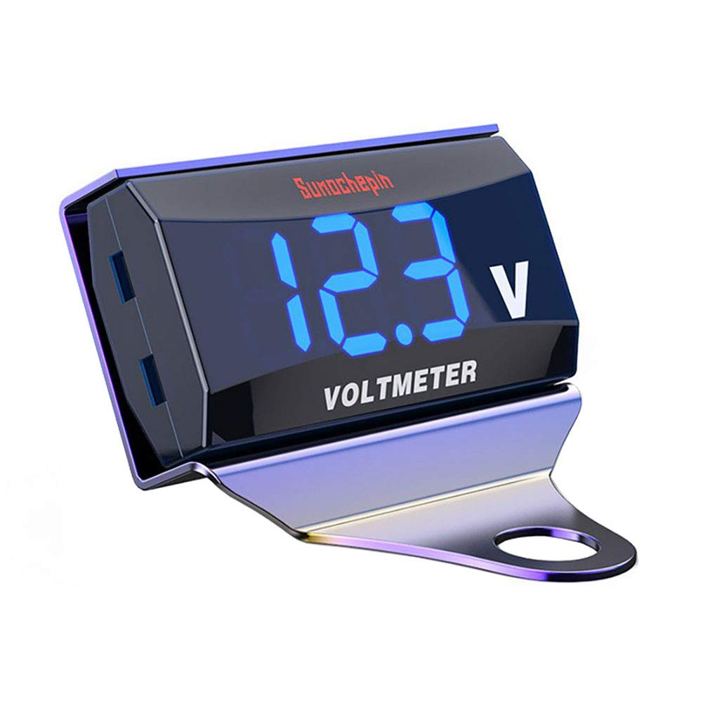 uniquegoods Digital Voltmeter Gauge Universal DC 10-150V Blue LED Display Waterproof Voltage Meter for Motorcycle Electric Car with Color Bracket