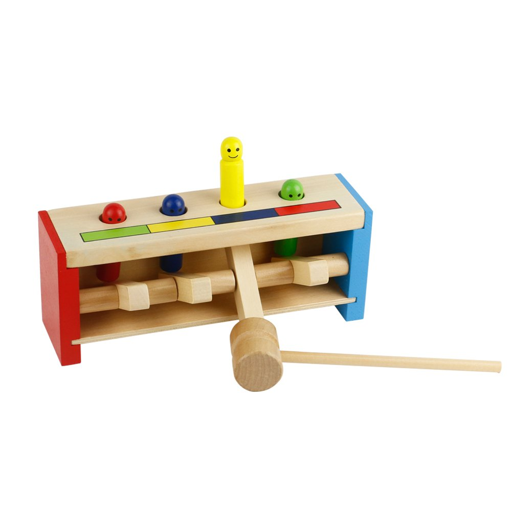 Fajiabao Wooden Pounding Bench Hammering Toys with Mallet Strike Game Educative Toddler Toys for Kids Boys Girls