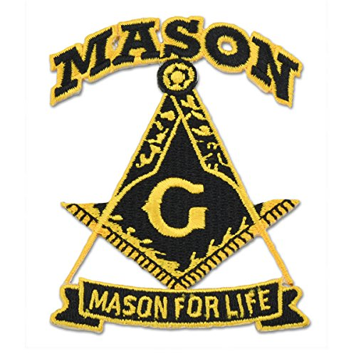 "Mason for Life Square & Compass Black & Gold Embroidered Masonic Patch - 3"" Tall"