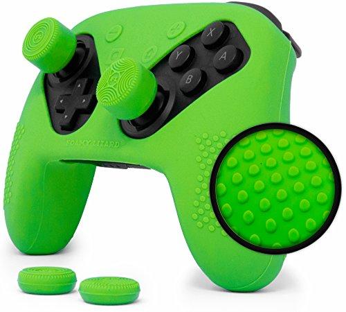 Nintendo Switch Pro Controller Skin Set by Foamy Lizard – AlphaPro Grip, STUDDED Sweat Free Silicone Cover w/ Flat Anti-slip Studs PLUS set of 4 QSS-Pro Thumb Grips (SKIN + QSS-P GRIPS, GREEN) by Foamy Lizard