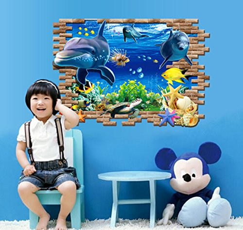 EMIRACLEZE Christmas Gift Vivid 3d the World of Ocean Fish Removable Mural Wall Stickers Decal for Children Bedroom Home Wall