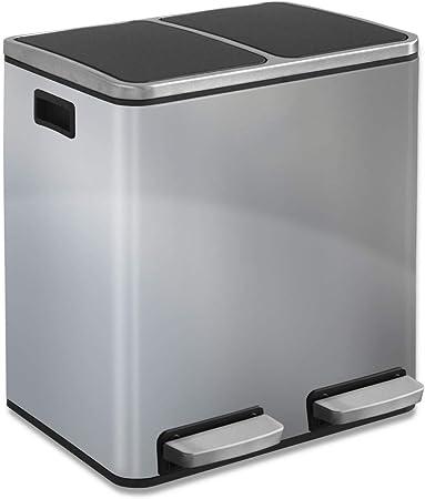 casa pura Abfalleimer Felix | Edelstahl Mülleimer mit Pedal | 2 Fach Mülltrennsystem für Küche und Büro | 30 oder 60 Liter | Trend Farben zur Auswahl