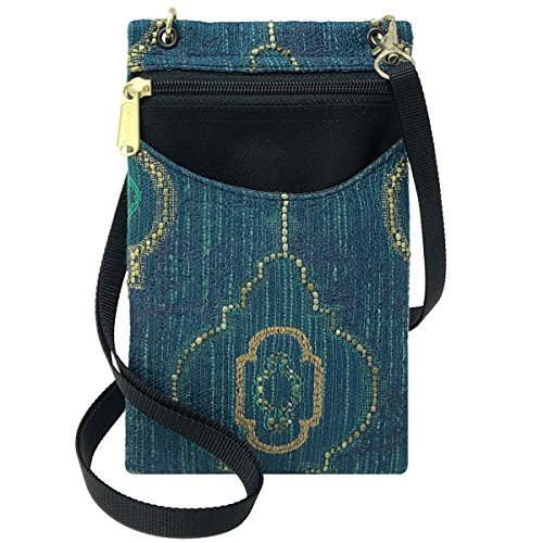Embroidered Phone Case (Danny K Women's Tapestry Crossbody Cell Phone or Passport Purse, Handmade in USA (Lucia))