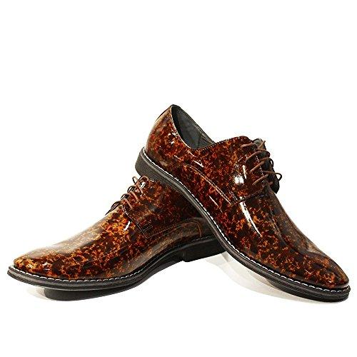 Modello Lorenzo - Cuero Italiano Hecho A Mano Hombre Piel Marrón Zapatos Vestir Oxfords - Cuero Charol - Encaje