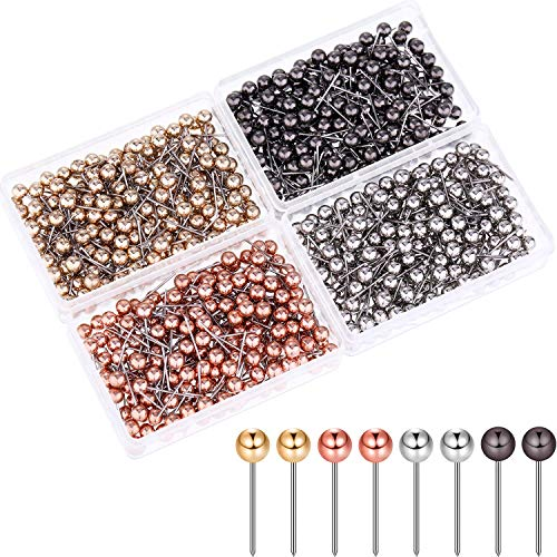 eBoot 800 Pieces Map Tacks Push Pins Round Plastic Head with Stainless Steel Point, 0.16 Inch Head (Silver/Gold/Rose Gold/Black Gold)
