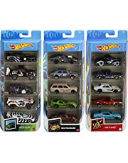 Hot Wheels Fast Pack 5-Pack Bundle with 15 Cars, 3 5-Packs of 1:64 Scale Racing Vehicles Themed Speed Blur, Nightburnerz & HW Flames, Gift for Collectors & Kids 3 Years Old & Up