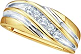 10k Yellow Two-tone Gold Mens Round Diamond Wedding Anniversary Band Ring (1/4 Cttw)