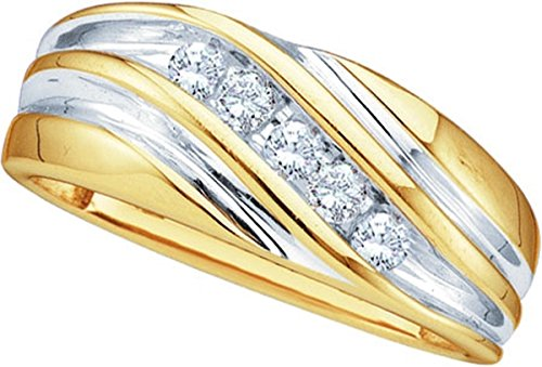 Size 10 - 10k Yellow Two-tone Gold Mens Round Diamond Wedding Anniversary Band Ring (1/4 Cttw)
