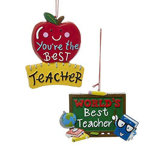 Kurt Adler 1 Set 2 Assorted Best Teacher Resin Christmas Ornaments