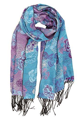 Sakkas CHS1810 - Ontario double layer floral Pashmina/ Shawl/ Wrap/ Stole with fringe - 3-AquaPurple - OS