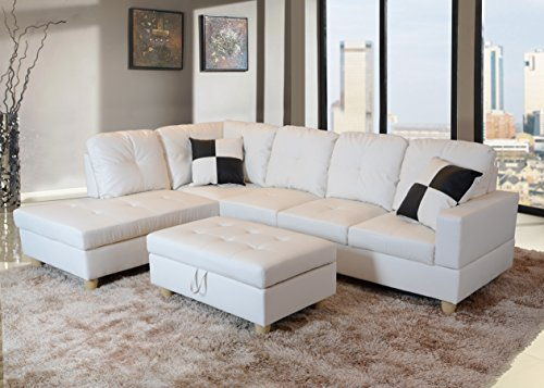 Beverly Furniture 3 Piece Faux Leather Right-facing Sectional Sofa Set with Storage Ottoman, White