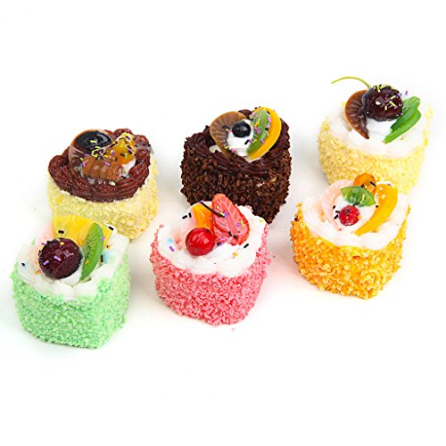RoundLove 6 Fake Fruit Cake Simulation Sprinkle Artificial Food Heart Cake Kitchen Toy Decoration
