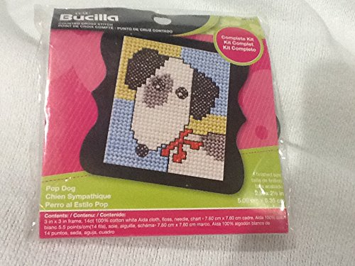 Bucilla 46181 Pop Dog Mini Counted Cross Stitch Kit