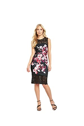 dea795bc19bdf Lipsy Thick Thin Floral Lace Hem Bodycon Dress in Multi Size 8:  Amazon.co.uk: Clothing