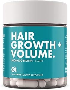 GT - Genesis Today - Hair Growth + Volume – High Potency 5,000 mcg Biotin Folate Healthy Hair Vitamin – 90 Capsules