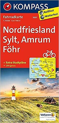 Karte Sylt Amrum.Kompass Fahrradkarte Nordfriesland Sylt Amrum Föhr Fahrradkarte