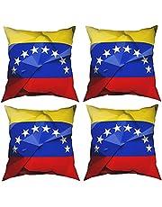 Mgbwaps Venezolaanse vlag kussenhoezen set van 4, decoratieve sierkussens, vierkante kussenhoezen, kussenhoes voor bank bank bank woonkamer
