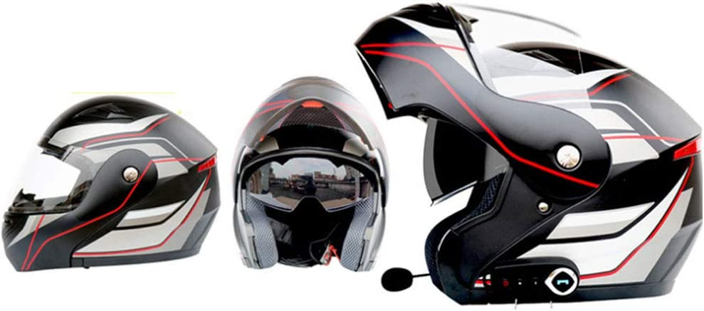 GWJ Bluetooth Motocicleta Cascos Dot Modular Abatible con FM Touring Cascos Incorporado De Doble Altavoz Bluetooth Headset con Micrófono para Contestador Automático
