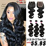 Brazilian Body Wave Bundles with Closure (14 16 18+12 closure) 8A Unprocessed Virgin Body Wave Human Hair with Closure 3 Bundles with 4x4 Closure Three Part …