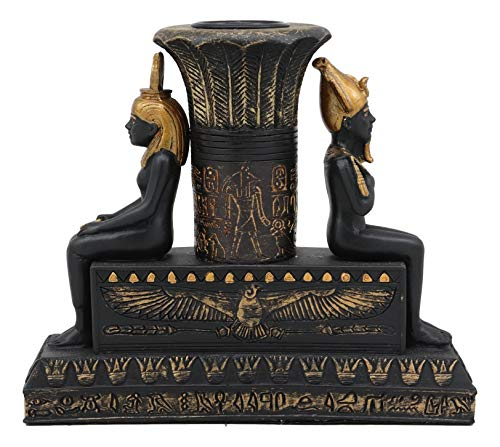 (Ebros Ancient Classical Egyptian Black and Gold Seated Isis and Osiris Pillar Candle Holder Figurine Candleholder Home Decor Statue As Decorative Sculpture Gods and Goddesses of Egypt Collectible)