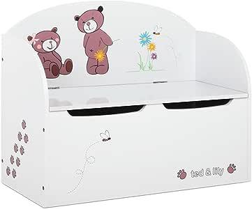 Kids Toy Box Bench Seat Storage Safe Lid Wooden Cabinet Bedroom Furniture White