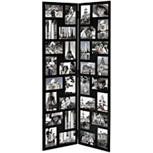 """Adeco PF0545 Black Wood Hinged Folding Partition Screen-Style Collage Picture Photo Frame 32 Openings, 4x6"""""""