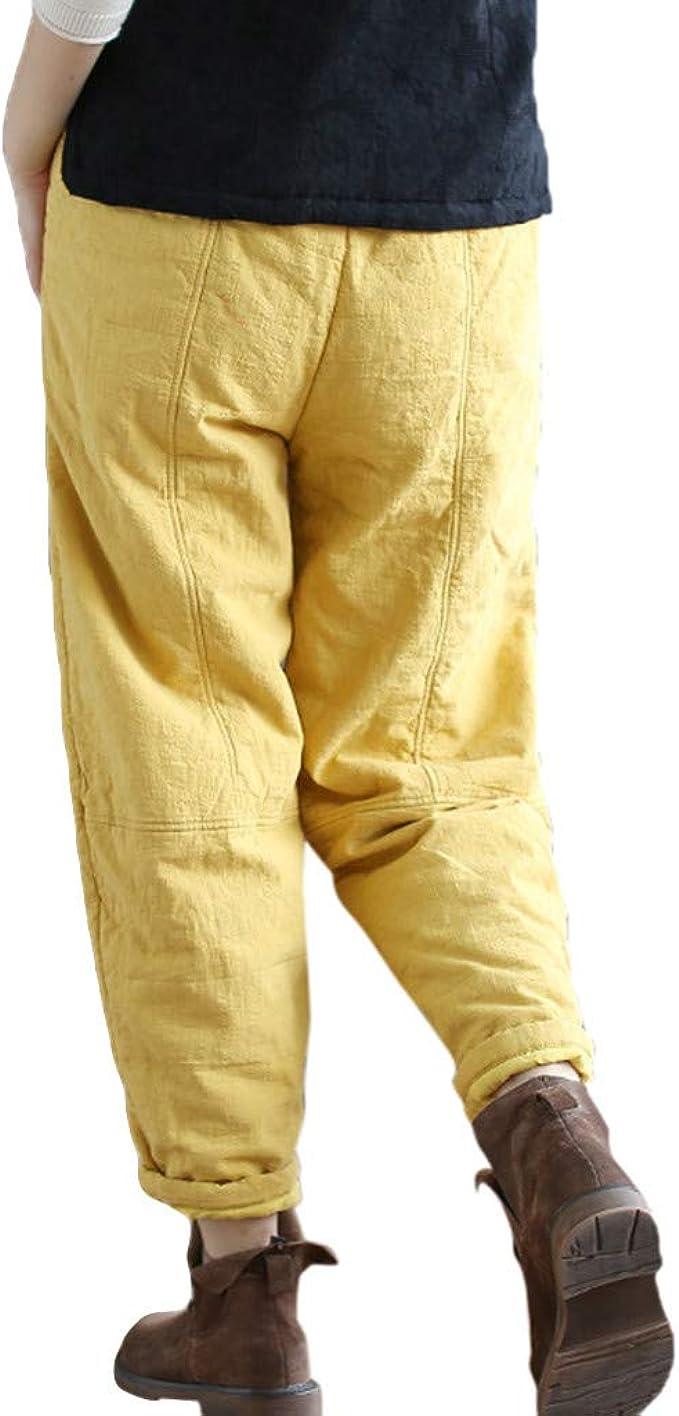FAMILIZO Pantalones Mujer Cintura Alta Tallas Grandes Verano Cómodos Elásticos Mujeres Vintage Retro Harem Pantalones Algodón Lino Baggy Pocket Pantalones Largos Pantalones: Amazon.es: Ropa y accesorios