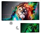 LightFairy Glow in the Dark Canvas Painting - Stretched and Framed Giclee Wall Art Print - Tiger Leopard Lion in Color - Master Bedroom Living Room Decor - 6 Hours Glow - 46 x 24 Inch