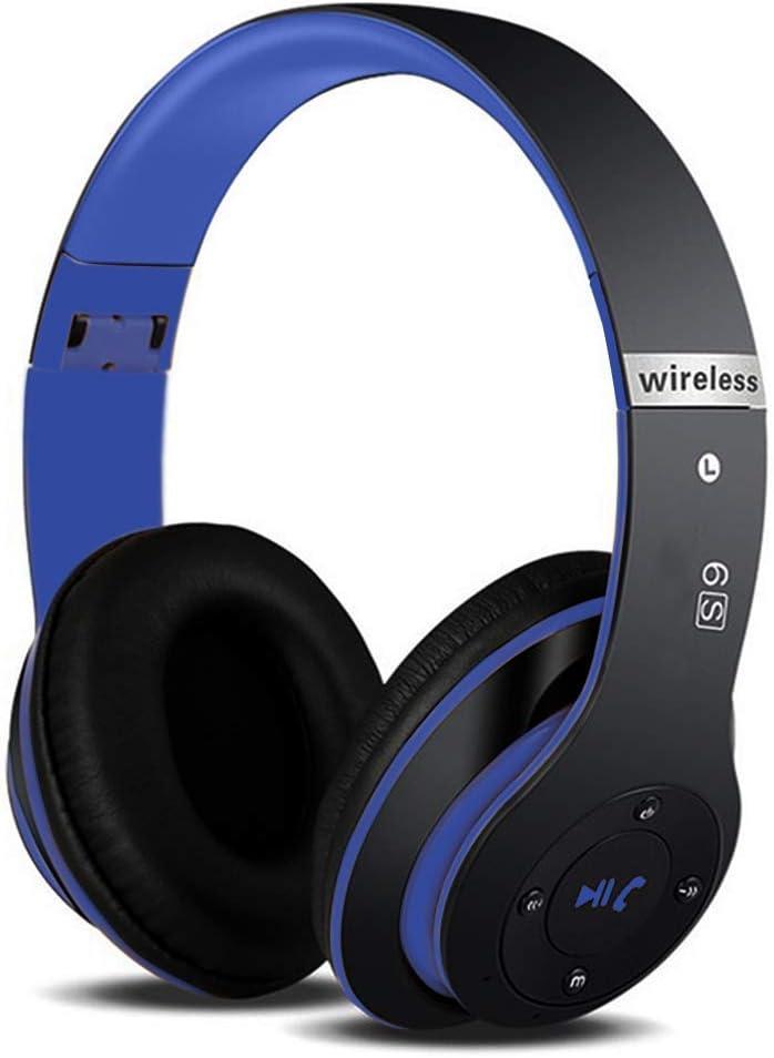 Auriculares Cerrados Inalámbricos 6S, Alta fidelidad Estéreo Auriculares Estéreo Inalámbricos Plegables, Micrófono Incorporado, Micro SD/TF, FM (para iPhone/Samsung/iPad/PC) (Negro y Azul)