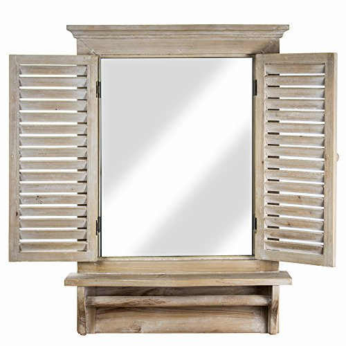 "Millennium Art American Art Decor Window Shutter Wall Vanity Mirror with Shelf and Towel Rod - Rustic Country Farmhouse Decor (28.25"" H x 21"" L x 4.75"" D)"