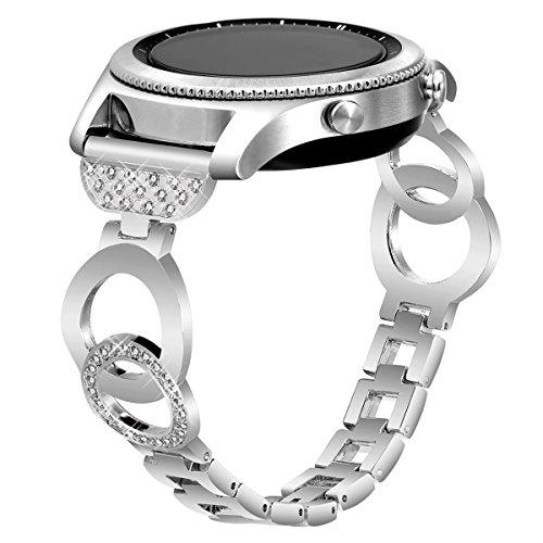 VOMA Samsung Gear S3 Bands, 22mm Metal Bracelet Samsung Gear S3 Frontier Bands/Samsung Gear S3 Classic Band/Moto 360 2nd Gen 46mm Band/Pebble Time/Pebble E Band(Bangle Silver)