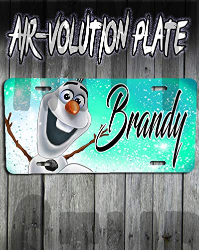 Personalized Airbrush Olaf Frozen License Plate Tag