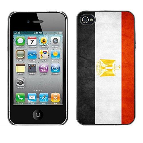 Omega Case PC Polycarbonate Cas Coque Drapeau - Apple iPhone 4 / 4S ( Egypt Grunge Flag )