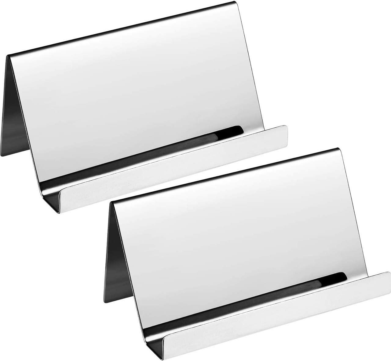 Edelstahl-Visitenkartenhalter Visitenkartenst/änder im rostfreier Stahl Grau DEDC 2 St/ück Visitenkarten-Organizer-Rack