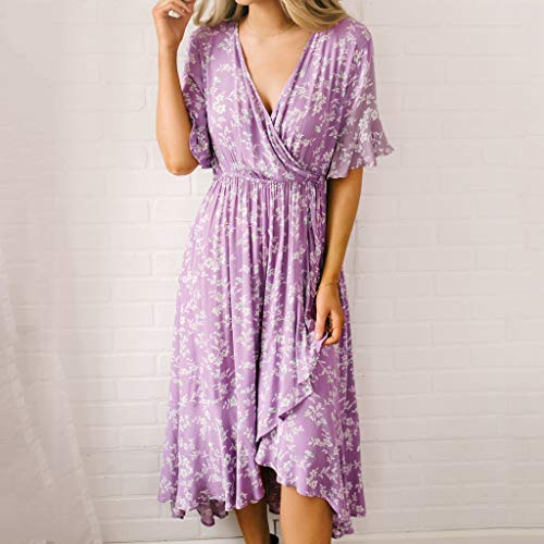 Women's Purple Flare Ruffle Short Sleeve High Split Irregular Hem V Neck Maxi Dress by ★ZFK_DRESS (Image #1)