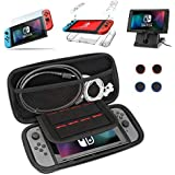 DYIXIN 9 in 1 Accessories compatible with Nintendo Switch, Carrying Case, Clear Case, Play Stand, 9H Screen Protector, Joy-Con Thumb Grip Caps(4 packs)