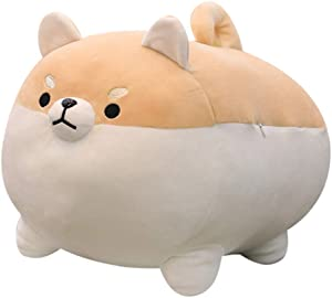 Shiba Inu Dog Plush Pillow,Cute Corgi Stuffed Animal Toy Doll Gifts for Valentine,Christmas (Brown, 19.6 inch)