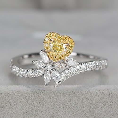 Amazon.com: Unique Heart Shaped Yellow diamond engagement