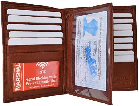 Marshal Bifold Leather RFID Blocking Wallet For Men & Women | Genuine Leather Holder With 20 Slots, 2 Bill Compartments & ID Window | Hipster wallet Money, Driver's License, Travel & More