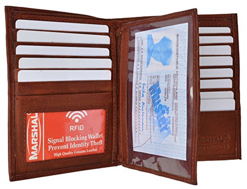 Credit Card Billfold - RFID Blocking Bifold Hipster Multi Credit Card ID Holder Wallet Premium Leather (Burgundy)