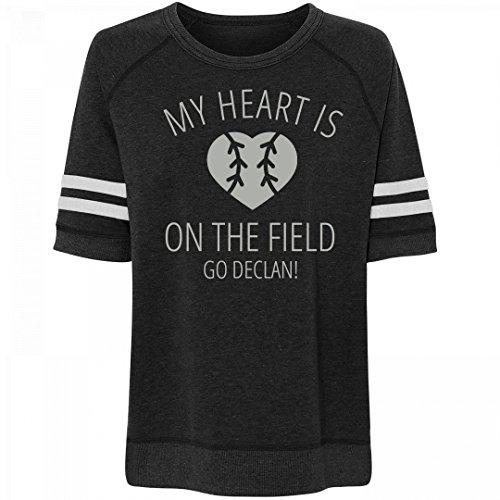 Baseball Heart On Field Go Declan!: Misses Relaxed Fit Vintage - Fields Declan